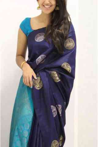 Graceful Blue Color Soft Silk Designer Sarees - SB984
