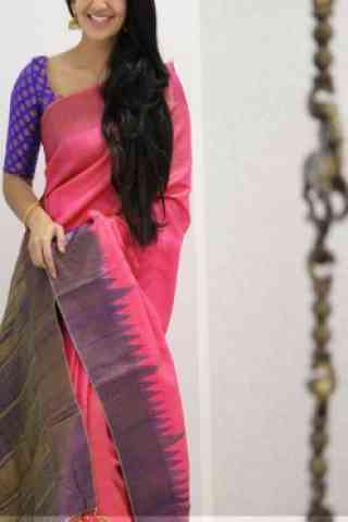 Modish Pink Color Soft Silk Designer Sarees - SB991