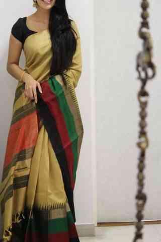 "Stylish Beige Color Soft Silk Saree - SB992  30"""