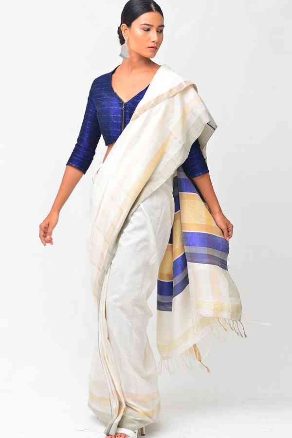 Classic White and Blue Soft Silk Saree