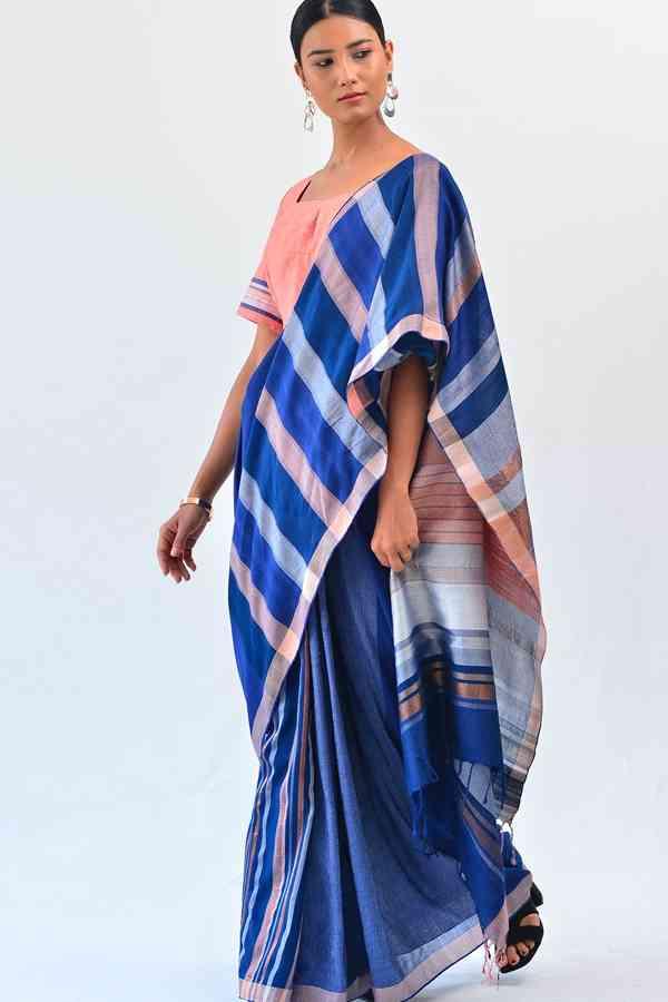 "Vibrant Blue coloured Batik Soft Silk Saree  30"""