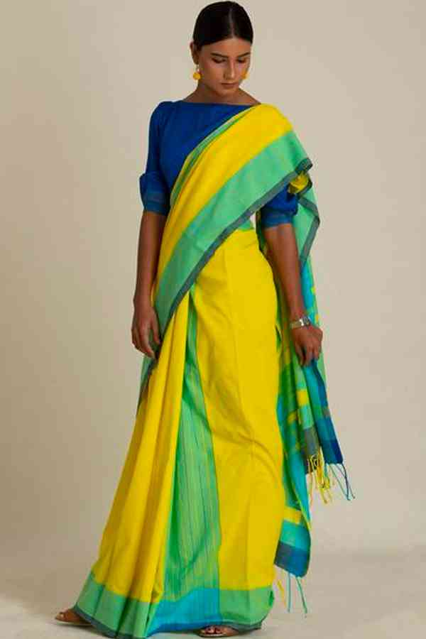 Elegant Yellow Colour Soft Silk Saree For Women   30""