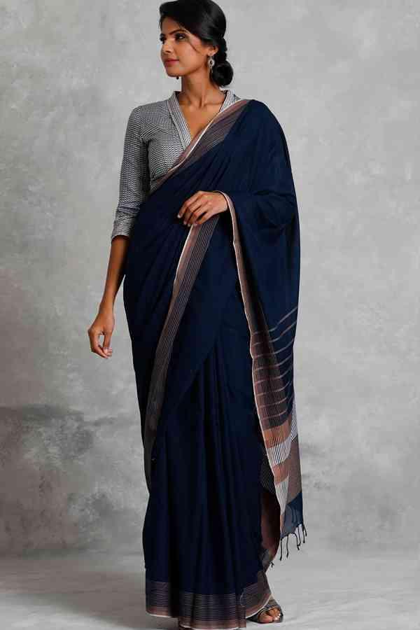 """Sensational Navy Blue Colored Soft Silk Saree For Women   30"""""""