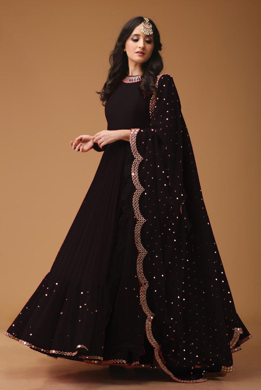 Georgette Fabric Mirror Work Black Party Wear Anarkali Suit With Dupatta - AS1002