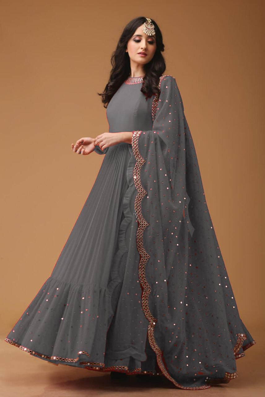 Georgette Fabric Mirror Work Grey Party Wear Anarkali Suit With Dupatta - AS1003