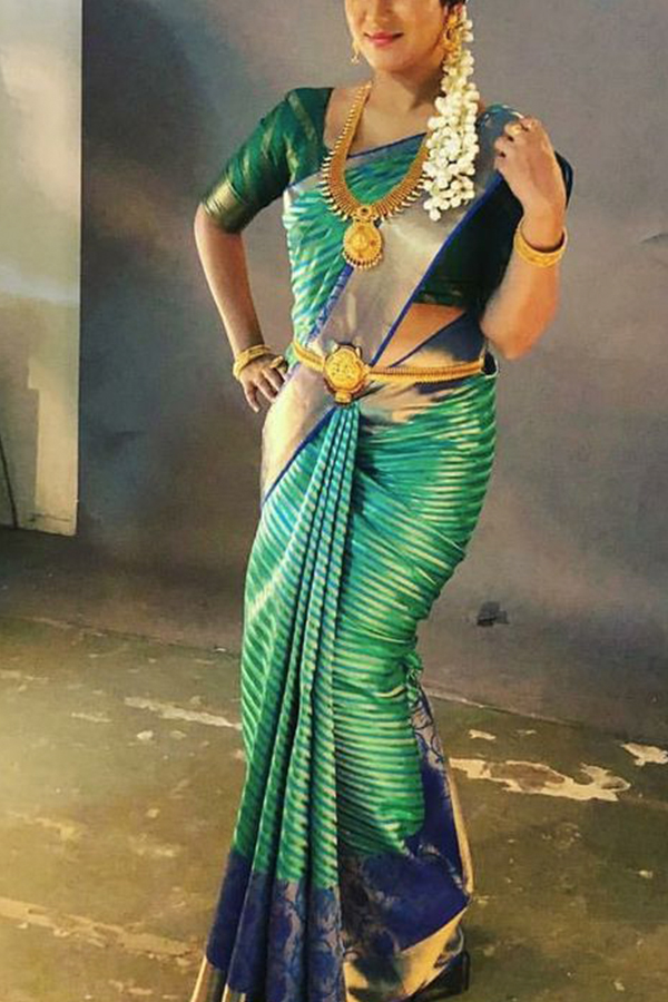 Traditional Green Colored Soft Silk Saree - CD195