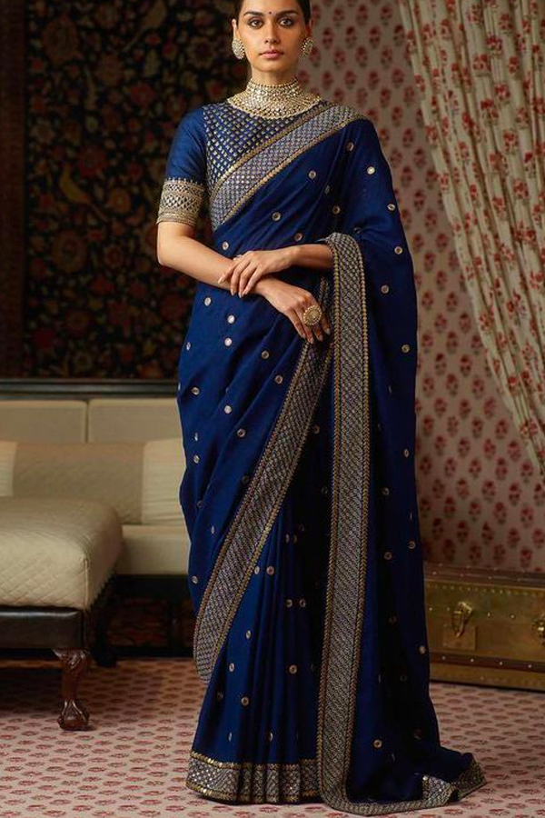 Admiring Bollywood Style Blue Color Embroidered Border Silk Saree - CS46