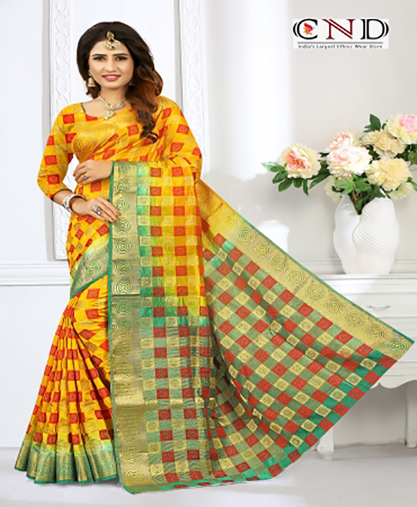 Elegant Yellow and Green Designer Jacquard Saree - JQRDYLWGRN