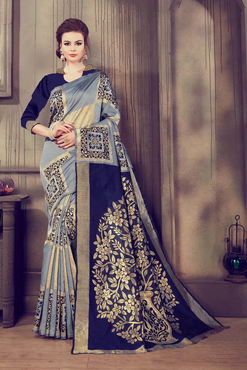 Innovative Grey-Blue Kalamkari Cotton Silk Saree - KalamCSGRYBL