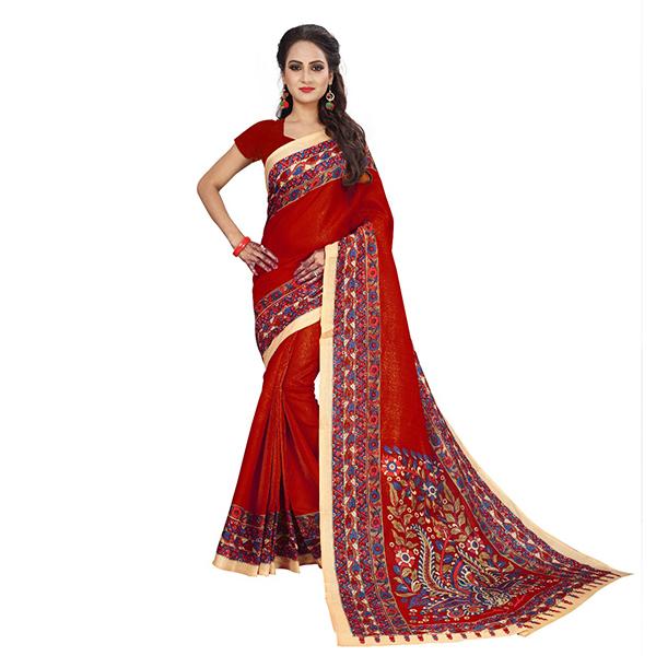 Stylish Red Kalamkari Bhagalpuri Soft Silk Saree - KalamRed