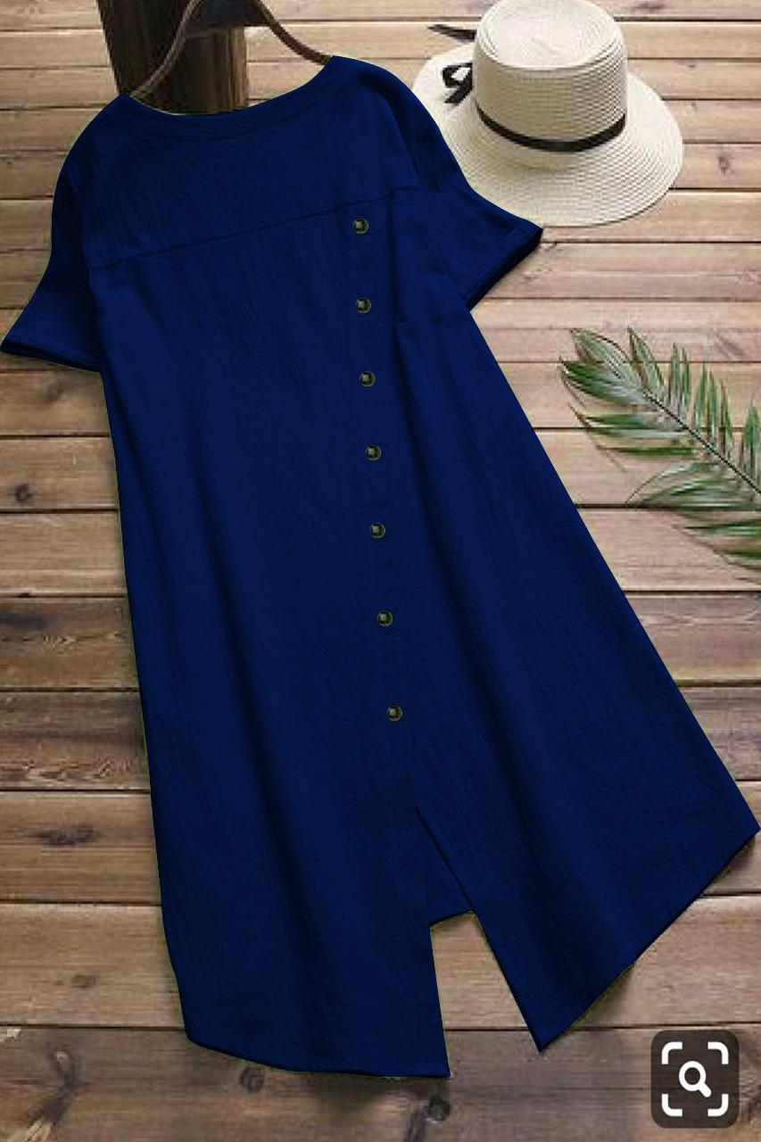 Pocket Style Pure Slub Cotton Blue Colored Kurti  - MAJISHASCK104