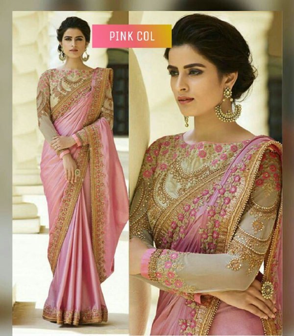 Delightful Pink Embroidered Chinon Silk Party Wear Saree - MAUNIPNKSAR