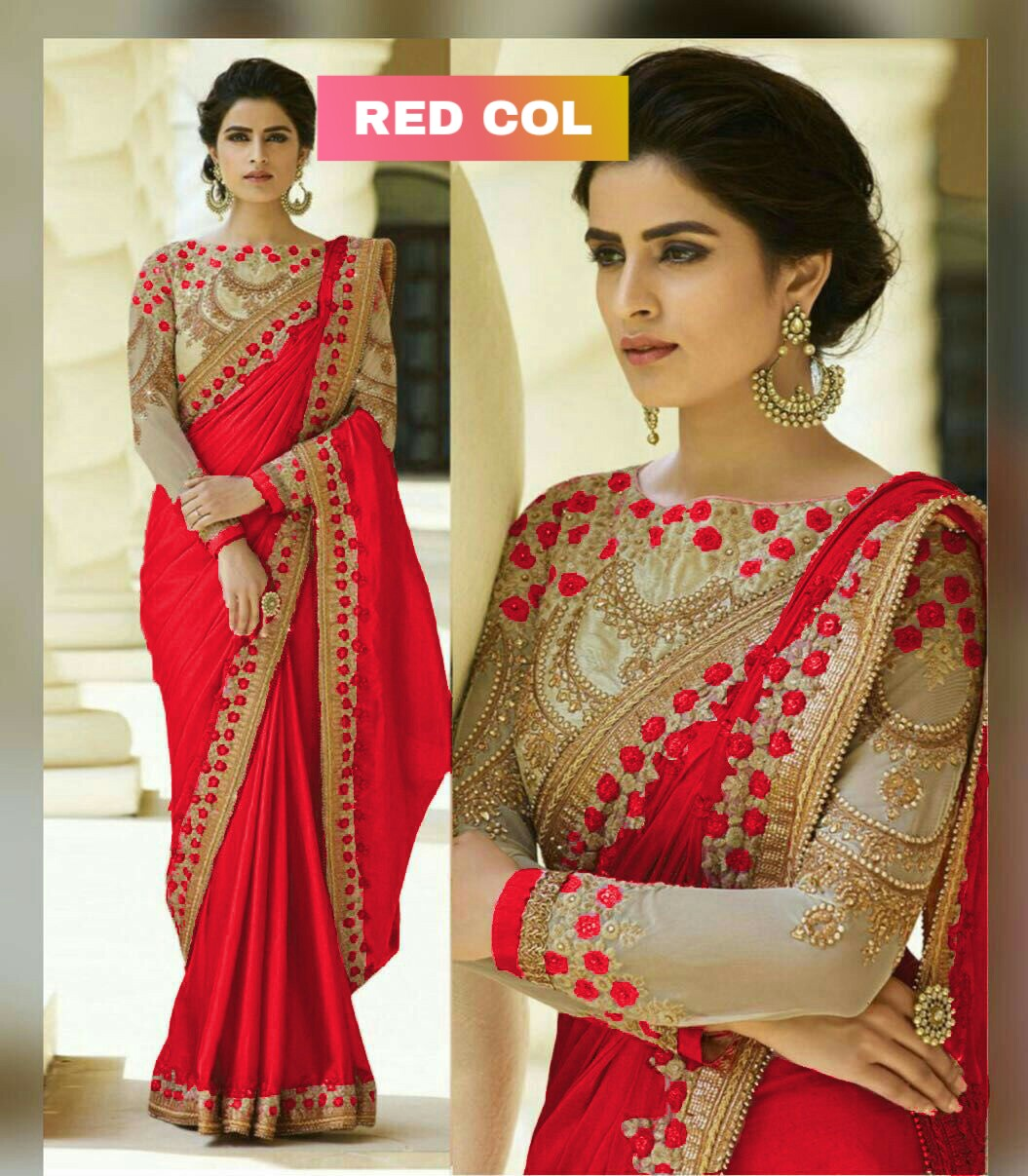 Refreshing Red  Embroidered Chinon Silk Party Wear Saree - MAUNIRDSAR