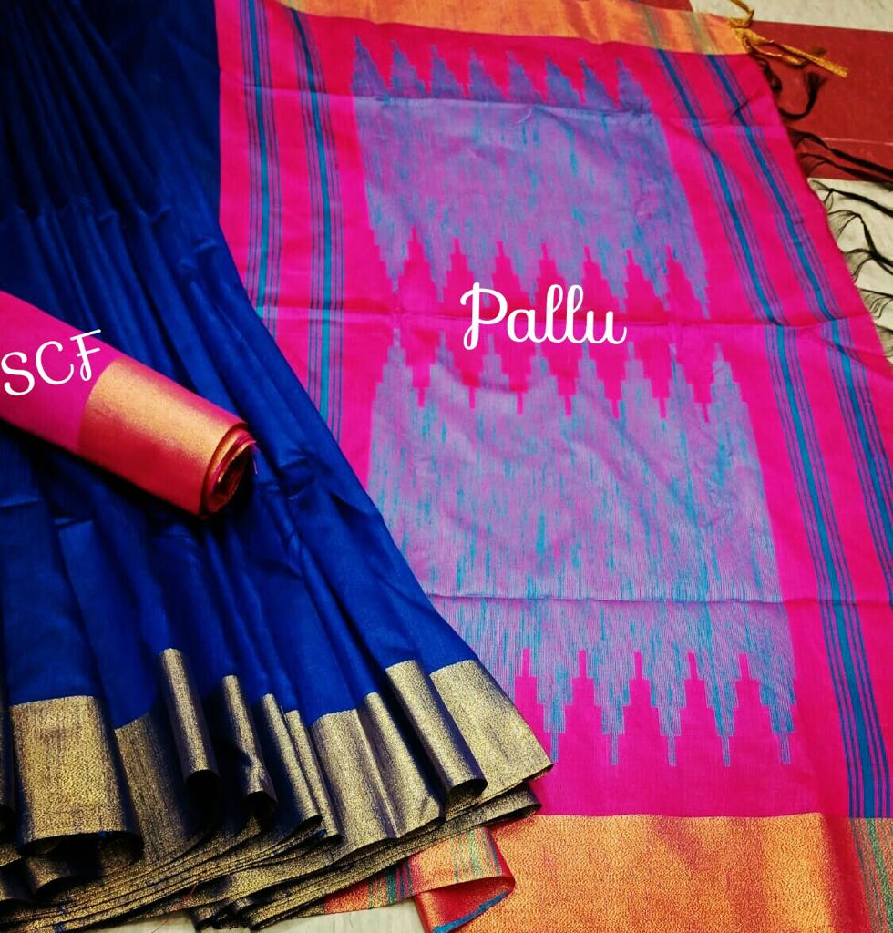 Pleasant Blue Colored Raw Silk Fabric With Jacquard Pallu Saree- RutrangBLPnk