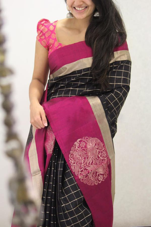 Breathtaking Black Colored Checks pattern Soft Silk Party Wear Saree