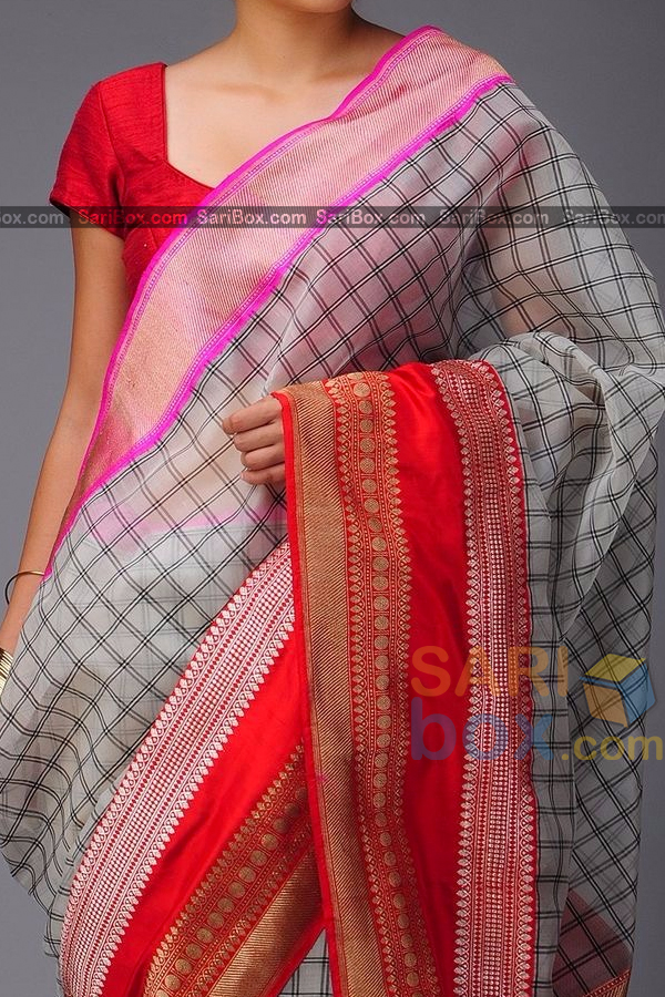 Groovy White Colored Checks Pattern Soft Silk Festive Wear Saree - CD320