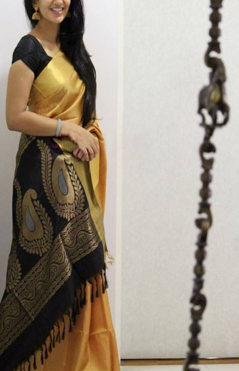 Modish Yellow Color Soft Silk Designer Sarees - SB1039
