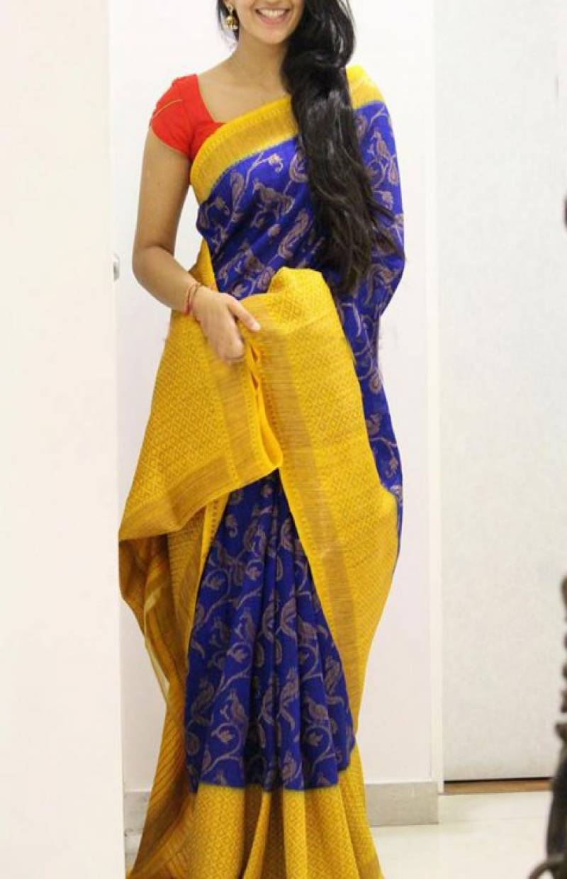 Vibrant Yellow And Blue  Color Soft Silk Designer Sarees - SB1043