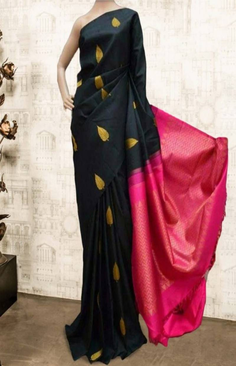 Vibrant Black Color Soft Silk Saree - SB596