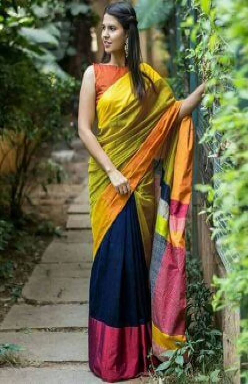 Eye Catching Yellow Color Soft Silk Designer Sarees-SB635
