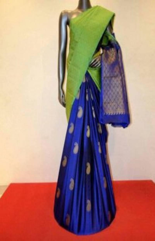 Flawless Green n BlueSoft Silk Designer Sarees-SB692