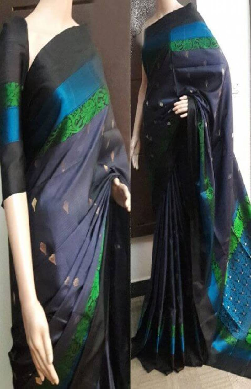 glitzy  Multi Color Soft Silk Saree - SB751