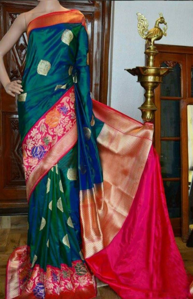Attractive Green And Pink Color Soft Silk Designer Sarees - SB941