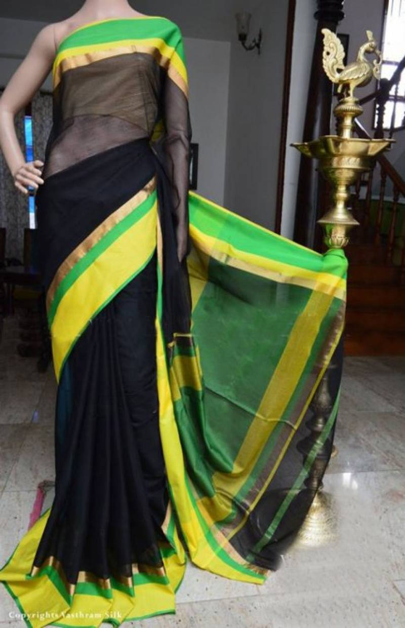 Mind Blowing Black Color Soft Silk Designer Sarees - SB954