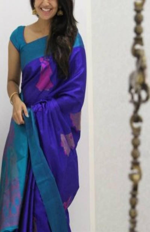 Modern Violet Color Soft Silk Designer Sarees - SB959