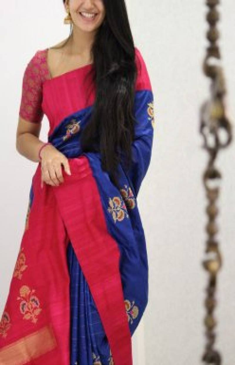Attractive Blue And Pink Color Soft Silk Designer Sarees - SB969