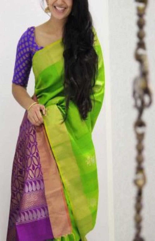 Graceful Green Color Soft Silk Designer Sarees - SB986
