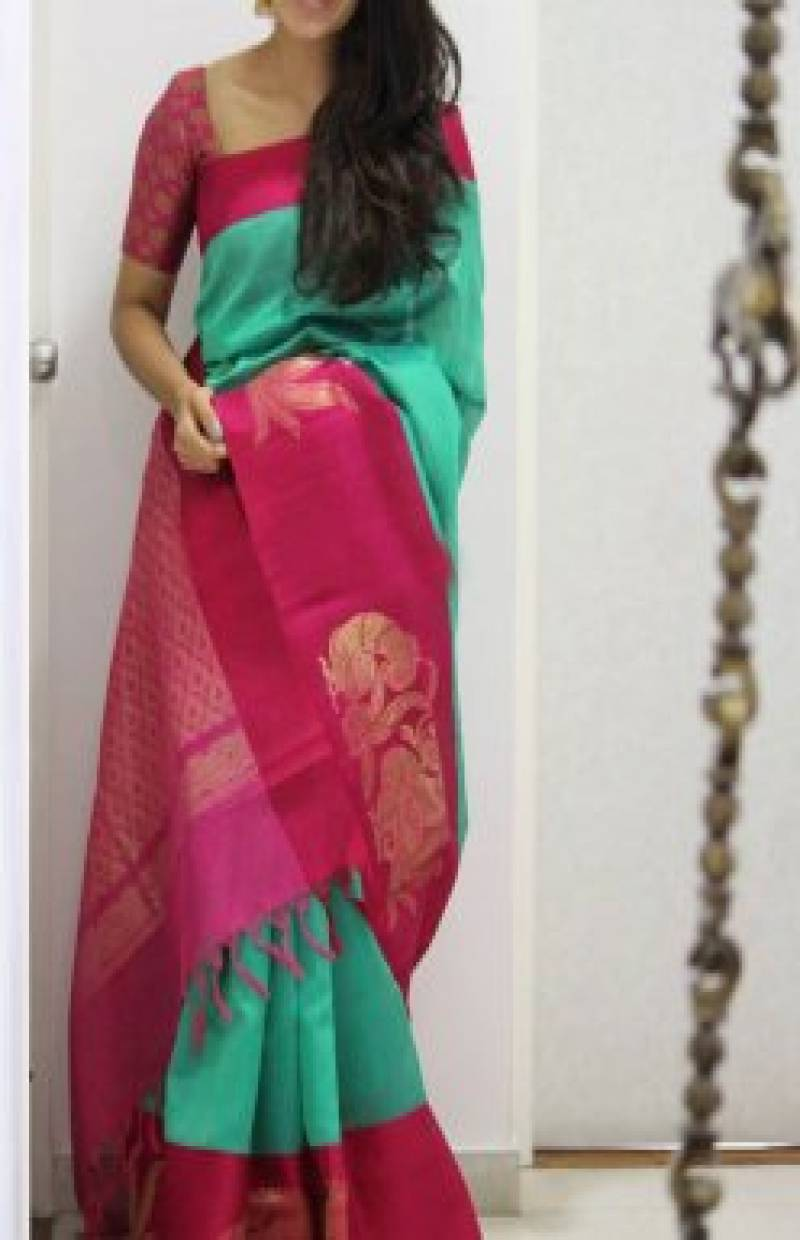 Modish turquoise Color Soft Silk Designer Sarees - SB989