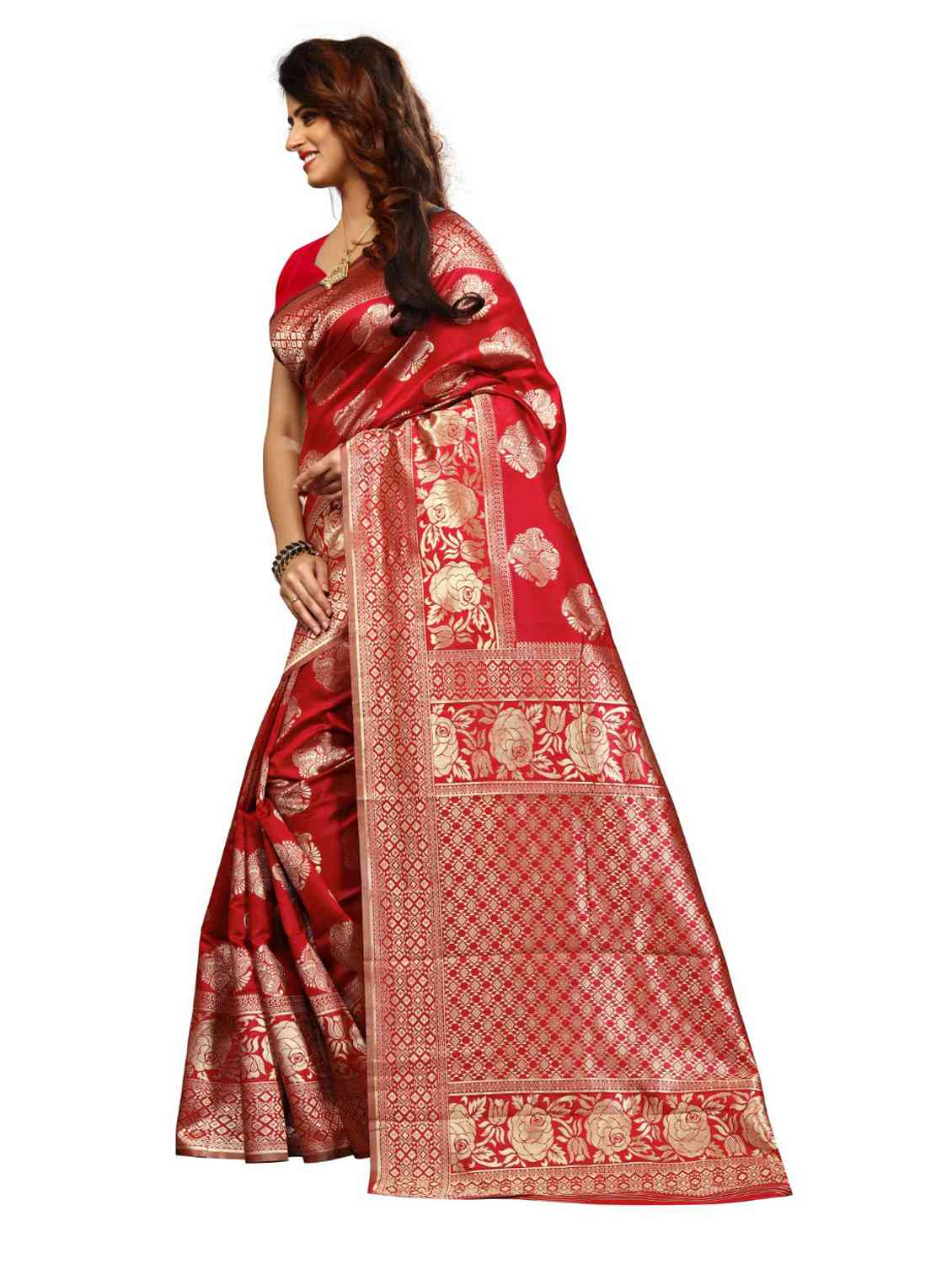 Red Colored Jacquard Silk Saree pari SD1704