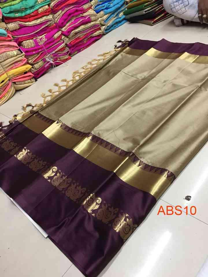 Adarshini Beige-Purple Jaquard Design Cotton Silk Saree-ABS10