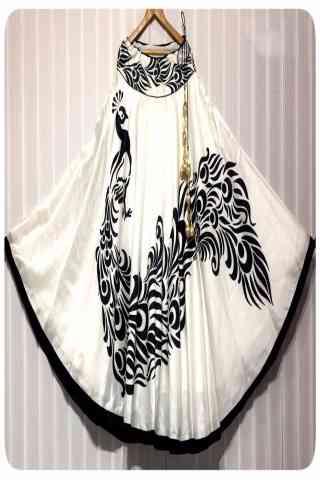 "Outstanding White Color Satin Silk Printed Free Size Lehenga - SD119  30"""