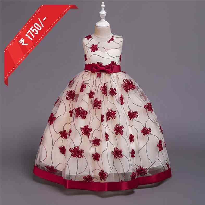 Cream and Red kids Trail Gown Enhanced In Feathers Online - Sari deal KG-2