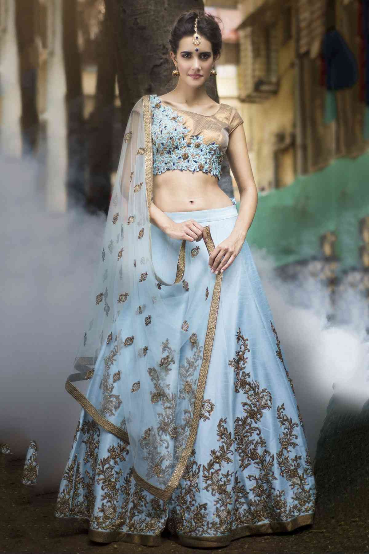 Sky Blue Colored Embroidered Work Tapeta Silk Lehenga Choli-LC180  30""