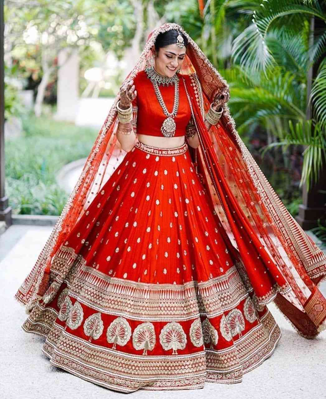 RED COLORED PARTYWEAR DESIGNER EMBROIDERED MALAY SATIN NEW SILK MATERIAL LEHENGA CHOLI-LC251  30""