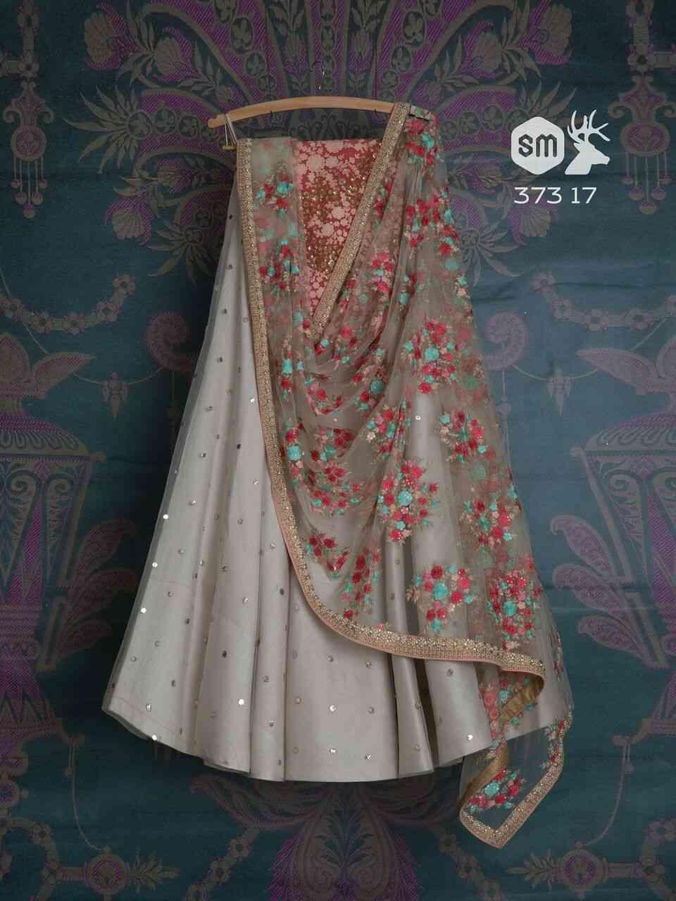 "Still Grey Colored Lehengha Choli With Embrodariy Work -LC2  30"""