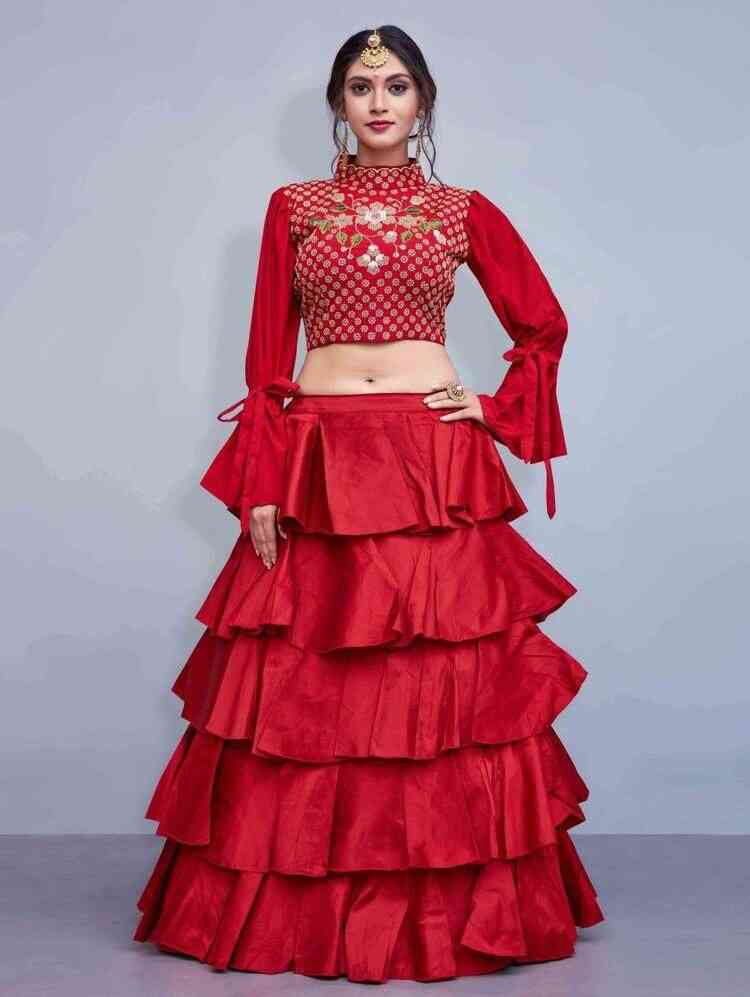 Preferable Red Colored Partywear Designer Embroidered Tapeta Silk Lehenga Choli-LC32  30""