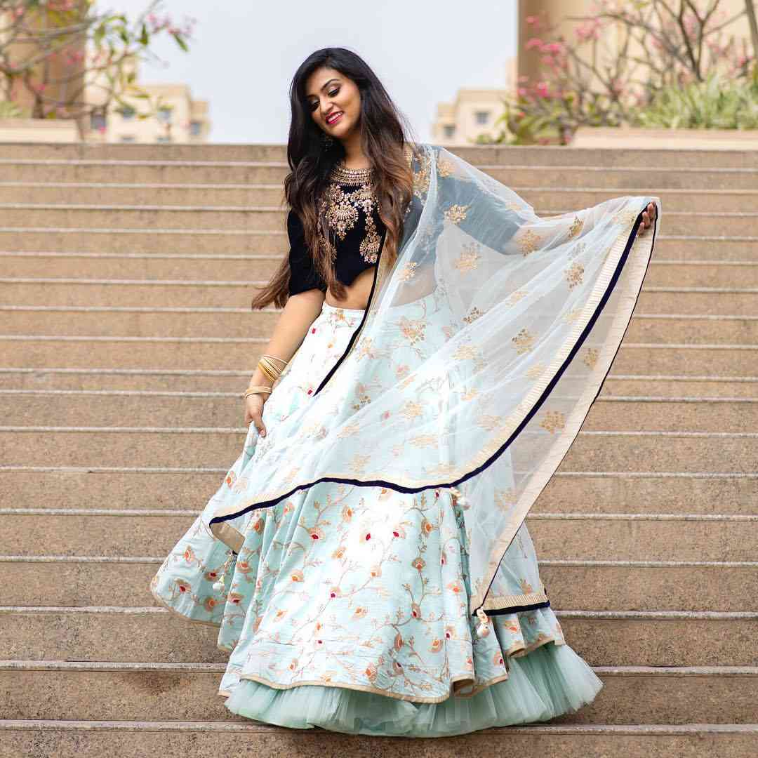 Light Blue Colored Partywear Designer Embroidered Tapeta Silk Lehenga Choli-LC40  30""