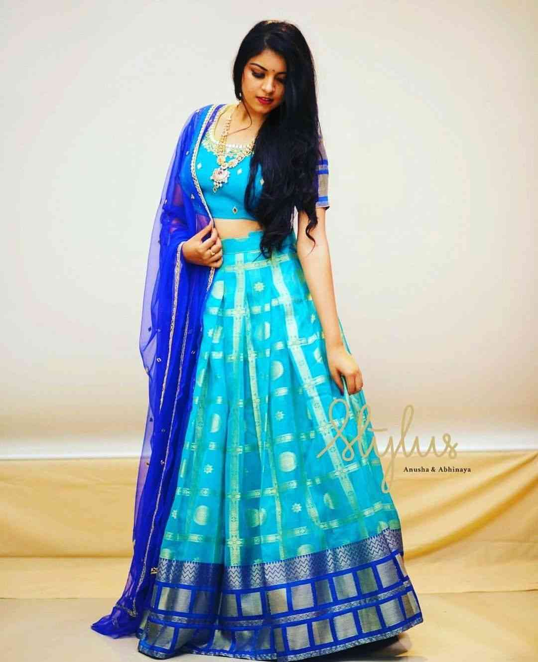 Blue Colored Satin Silk Printed Designer Partywear Lehenga Choli- LCP4  30""