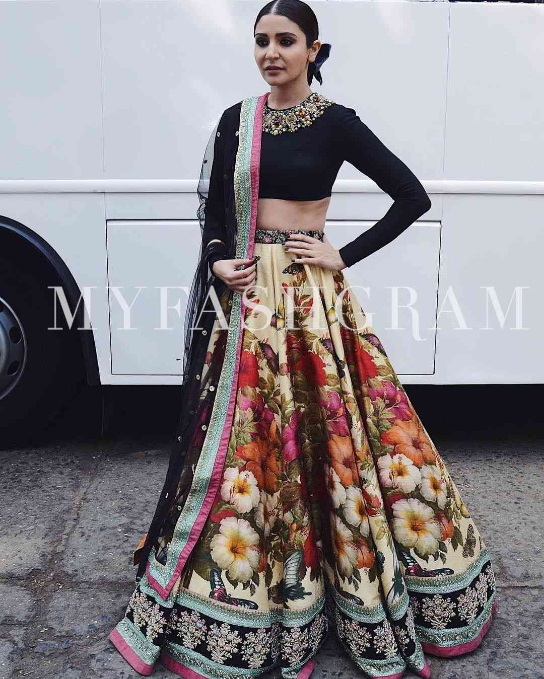 Multi Colored Satin Silk Printed Designer Partywear Lehenga Choli- LCP3  30""