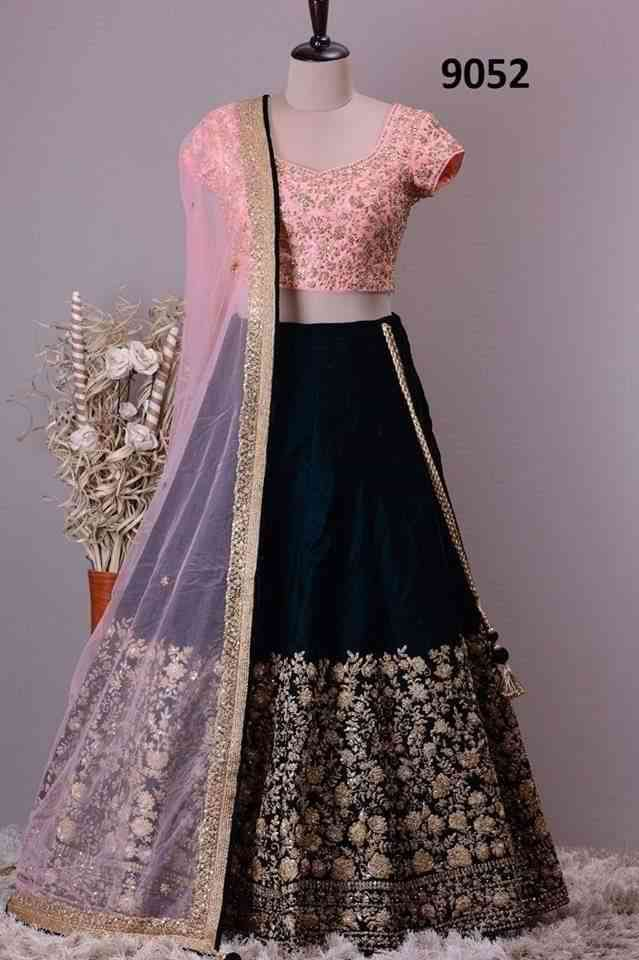 Pink n Blue Coloured Party Wear Embroidery  Work Designer  Lehenga Choli - lc157  30""