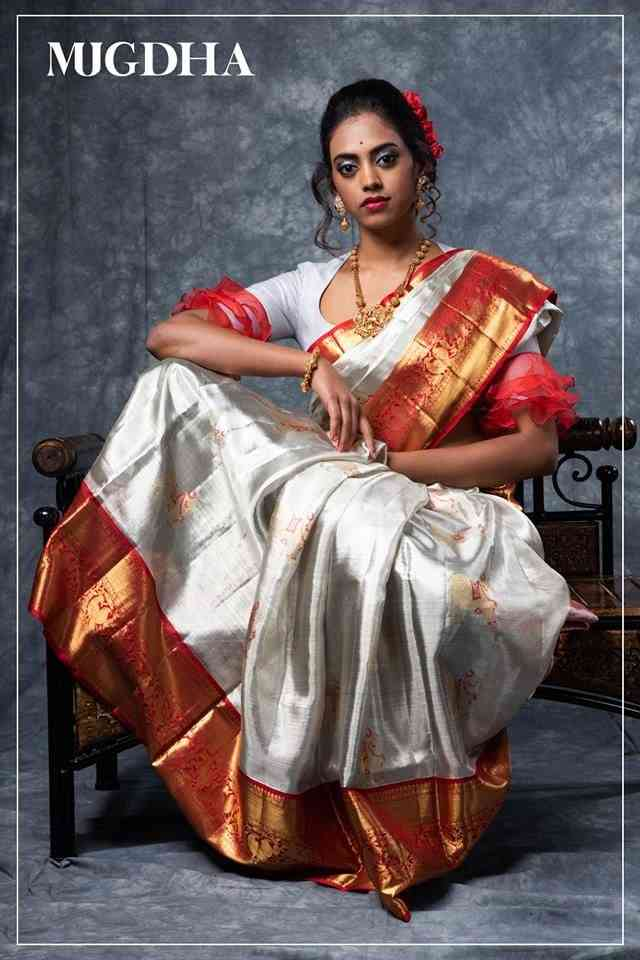 White N Red Colored Party Wear Designer Traditional Soft Silk Saree--MF16  30""