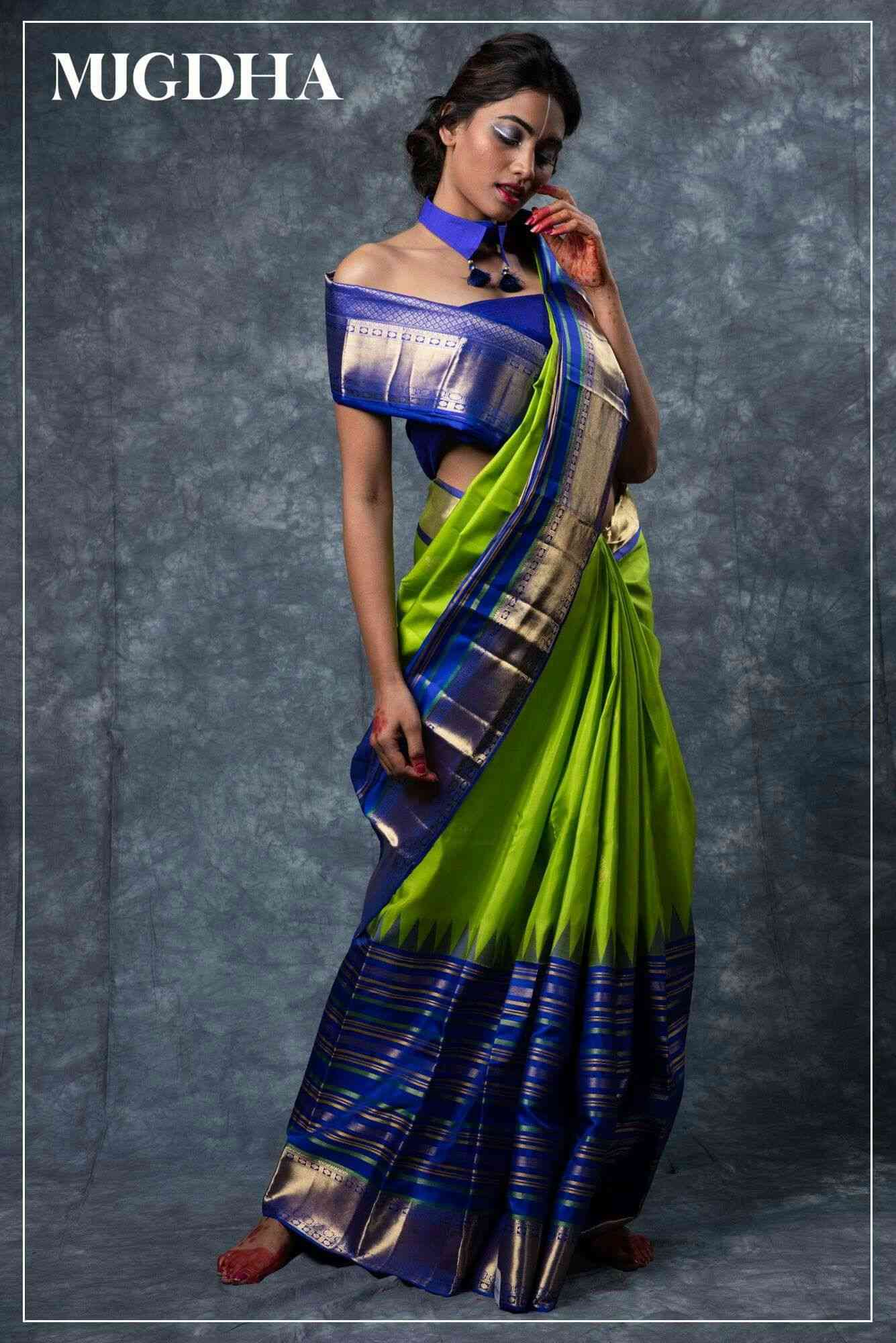 GREEN   BLUE Colored Party Wear Designer Traditional Soft Silk Saree--MF18  30""