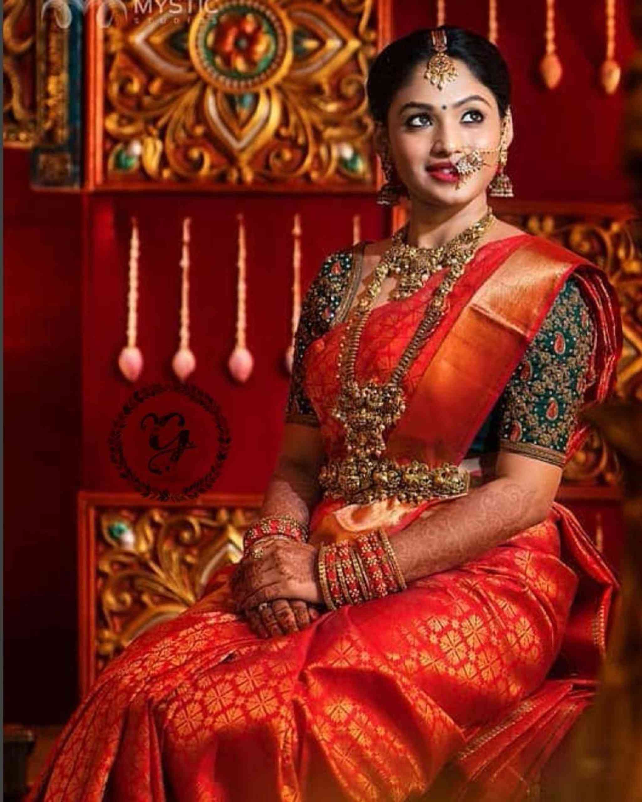 ORANGE COLORED TRADITIONAL SILK SAREE WITH BLOUSE FOR WOMEN--MF4
