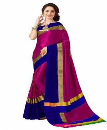 Pink Color Poly cotton Fabric Striped Pattern Saree _SD_PCS11  30""