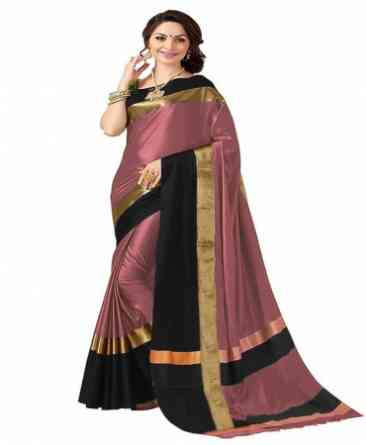 Multi Color Poly cotton Fabric Striped Pattern Saree_SD_PCS4  30""