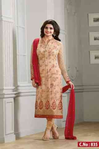 Admirable Beige Color Georgette Fabric Embroidered Semi- stitched Salwar Suit